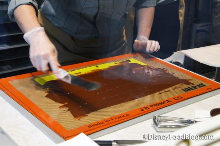 Dark Chocolate Being Prepared For Cutting