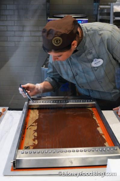 Head Chocolatier Amanda Cutting the Ganache