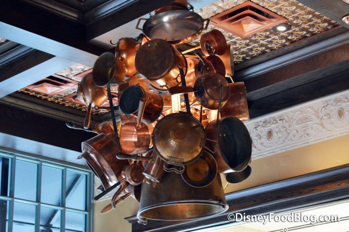 Copper Pots In The Center of the Ceiling