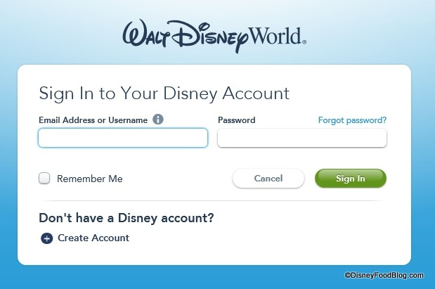 Walt Disney World Account Sign In Screenshot