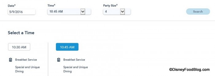 Selecting 10:45 AM Screenshot