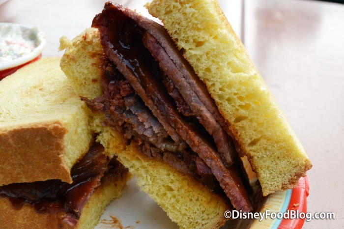 Barbecued Beef Brisket Sandwich Cross-section