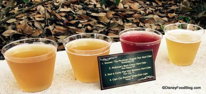 Hard Cider and Beer Flight Close-Up