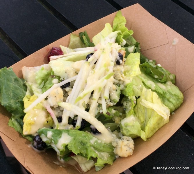 Land-harvested Field Greens with Apples, Dried Blueberries, Stilton Cheese and Apple Cider Vinaigrette