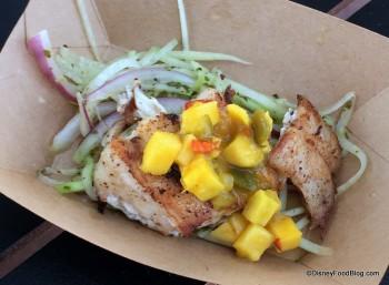 Jerk-spice Grouper with Mango Salsa, Chayote and Green Papaya Slaw with Lime-Cilantro Vinaigrette