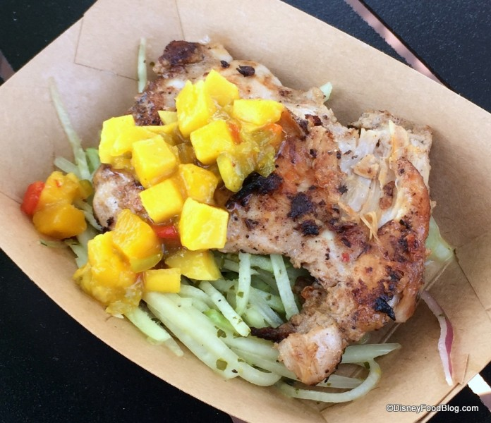 Jerk-spice Chicken with Mango Salsa, Chayote and Green Papaya Slaw with Lime-Cilantro Vinaigrette