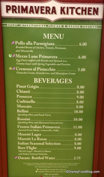Primavera Kitchen Menu