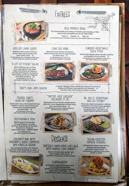 Skippers Canteen Allergy Menu -- Entrees -- Click to Enlarge