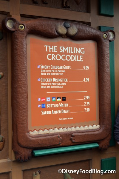 The Smiling Crocodile Menu