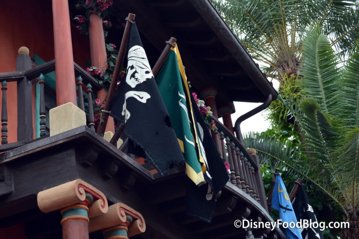 Pirate Flags Outside of Tortuga Tavern