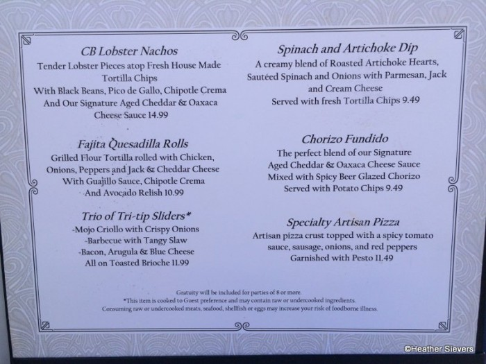 Cove Bar Menu