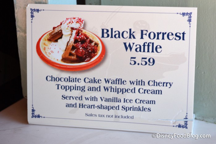 Black Forrest Waffle Sign at Sleepy Hollow