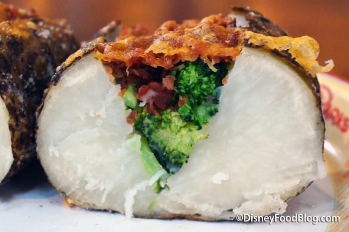 Broccoli, Cheddar & Bacon Baked Potato Cross-Section