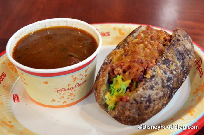 Broccoli, Cheddar & Bacon Baked Potato and Chicken Gumbo
