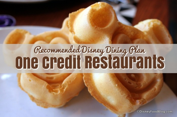 Disney Dining Plan One Credit Recommendations