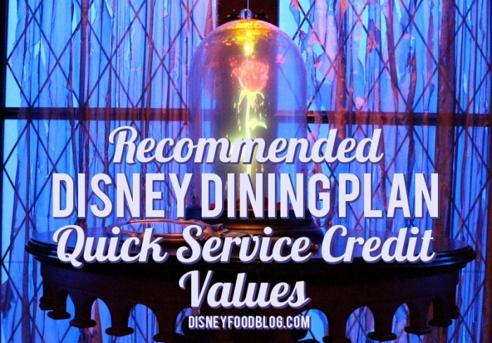 Disney Food Blog Recommended Disney Dining Plan Quick Service Credit Values