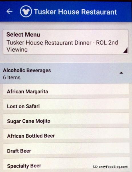 Tusker House Dinner Beverages screenshot
