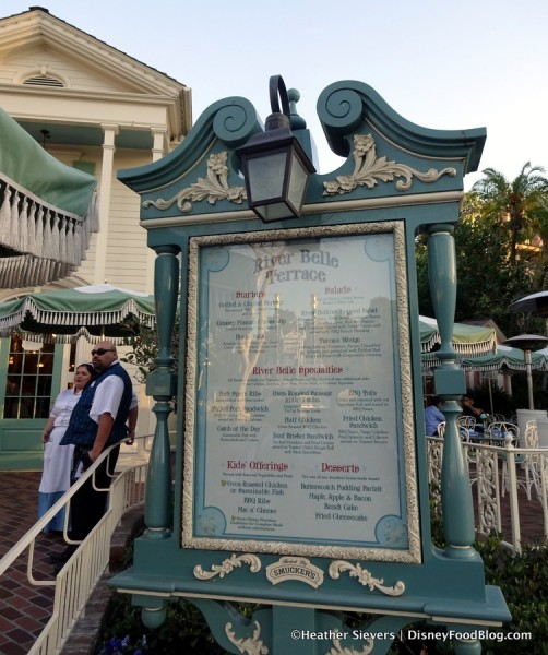 New Table Service menu posted in front of River Belle Terrace