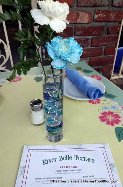 Table Flowers with the menu