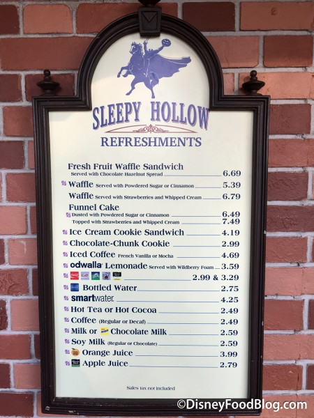 Updated Sleepy Hollow Menu
