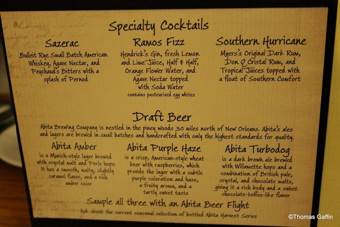 Specialty Cocktails Menu