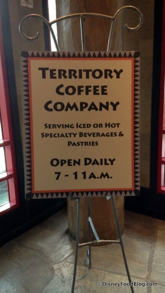 Sign pointing guests to Territory Coffee Company