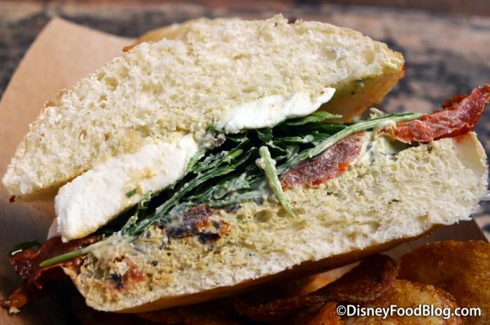 Cross-Section of the Tomato and Mozzarella Sandwich