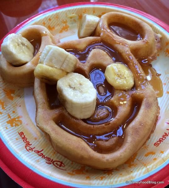 Jumbo Mickey Waffle with Caramel Banana Sauce