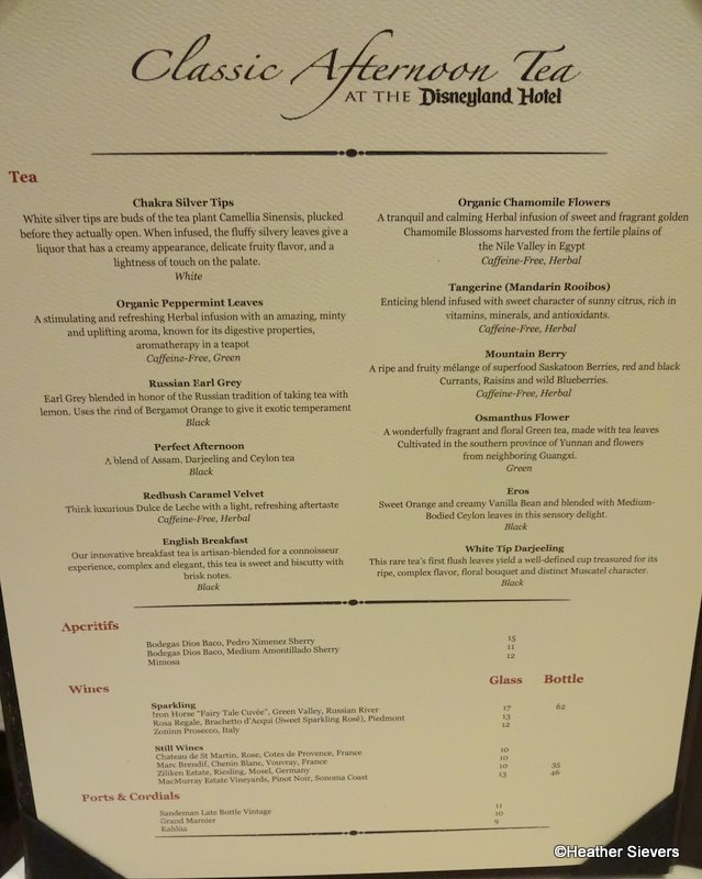 Dining in disneyland afternoon tea at disneyland hotels steakhouse tea menu fandeluxe Choice Image