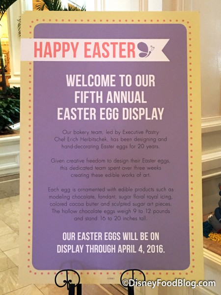 2016 Grand Floridian Easter Egg Display
