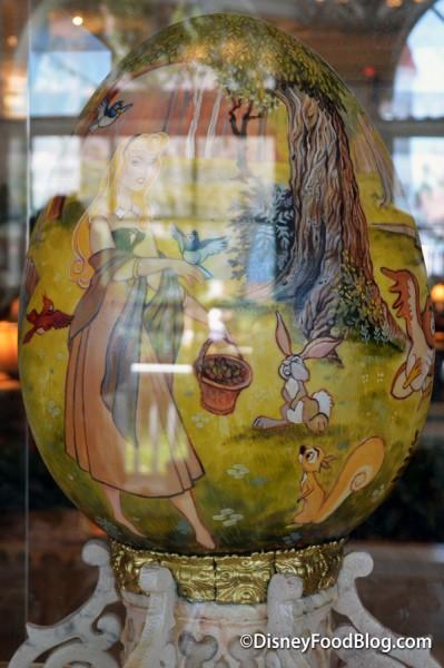Sleeping Beauty Egg in glass case