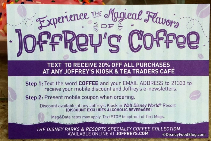 Joffrey's Coffee Discount Information