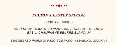 Screenshot of Fulton's Crab House Easter Menu