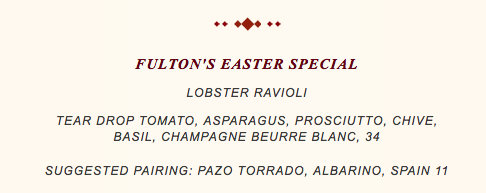 Screenshot of Fulton's Crab House Easter Menu
