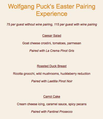 Screenshot of Wolfgang Puck's Easter Pairing Experience menu