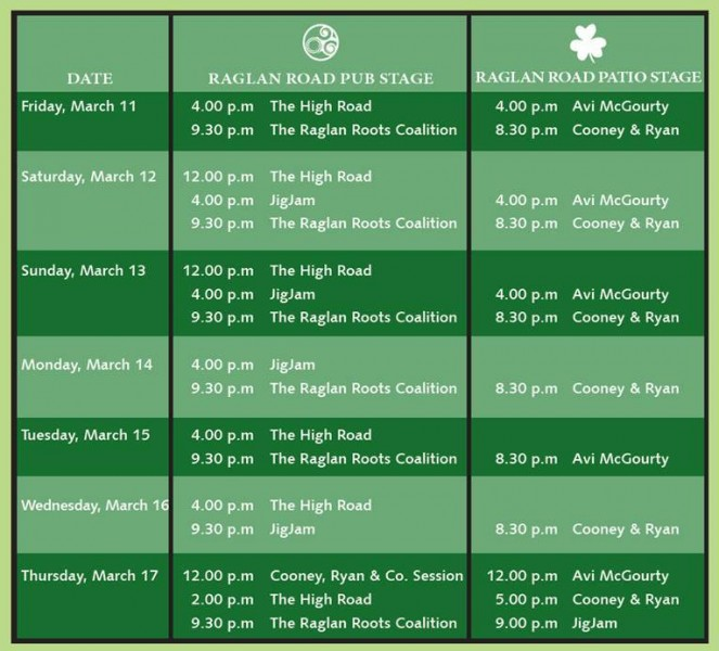 entertainment-schedule Raglan Road