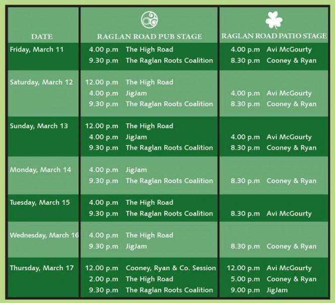 entertainment-schedule Raglan Road