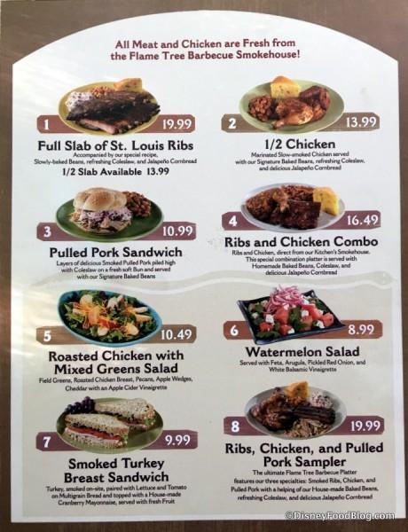 Flame Tree Barbecue menu