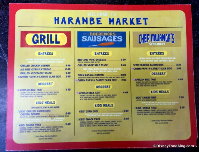 Harambe Market menu