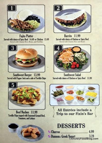 Pecos Bill's menu