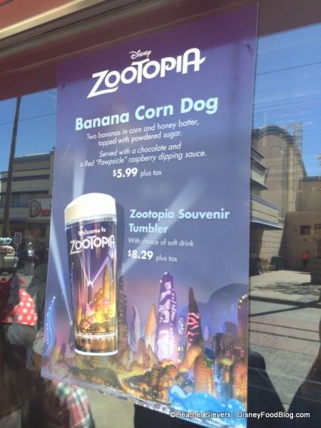 Zootopia Banana Corn Dog & Sipper Offerings