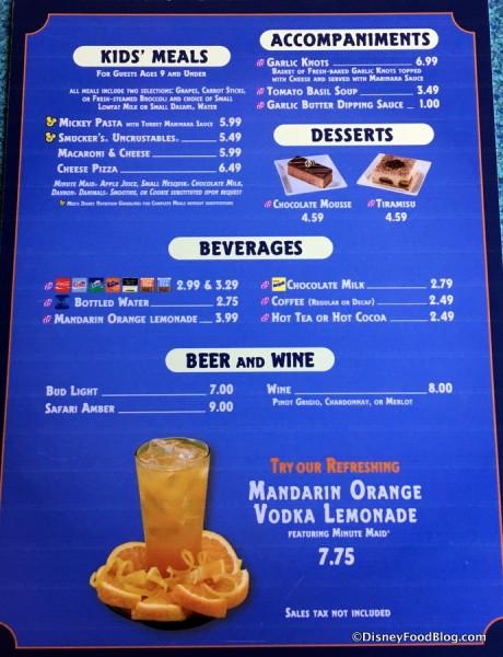 Pizzafari menu