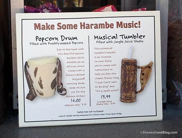 Popcorn Drum and Musical Tumbler sign