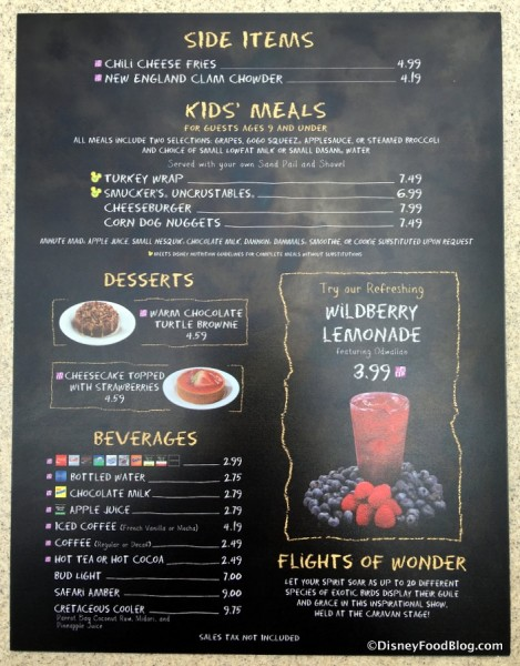 Restaurantosaurus menu