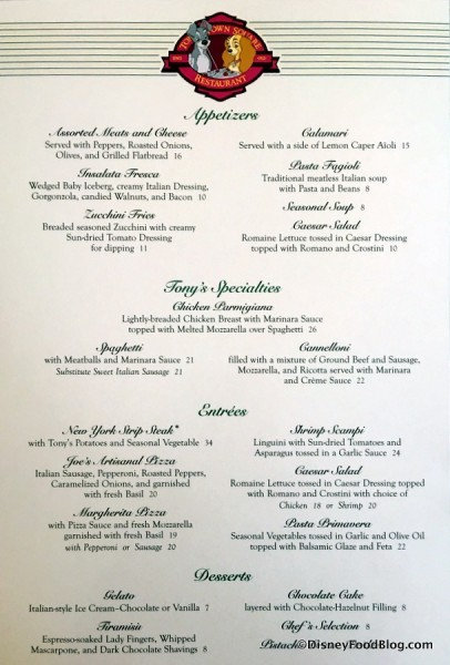 Tony's Town Square menu