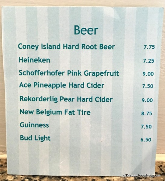 Beer, Cider and Hard Soda List