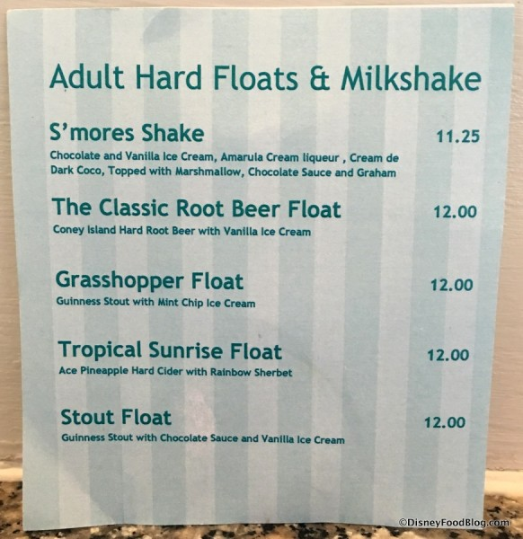 Beaches & Cream Adult Drink Menu