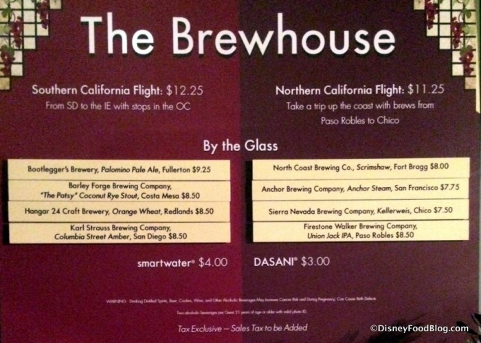 The Brewhouse Menu