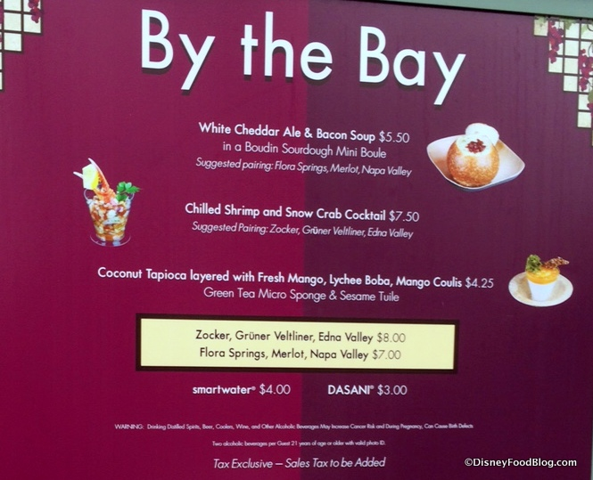 By the Bay Menu