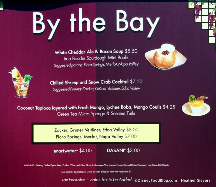 By the Bay Booth Menu